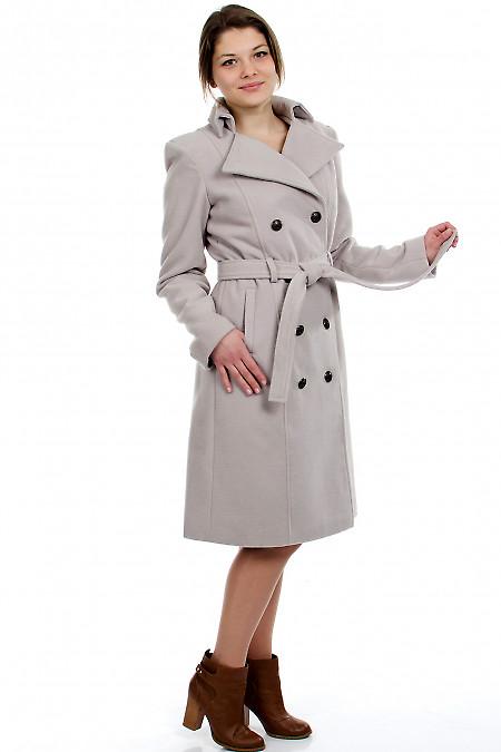 Пальто с поясом демисезонное вид сбоку Деловая женская одежда