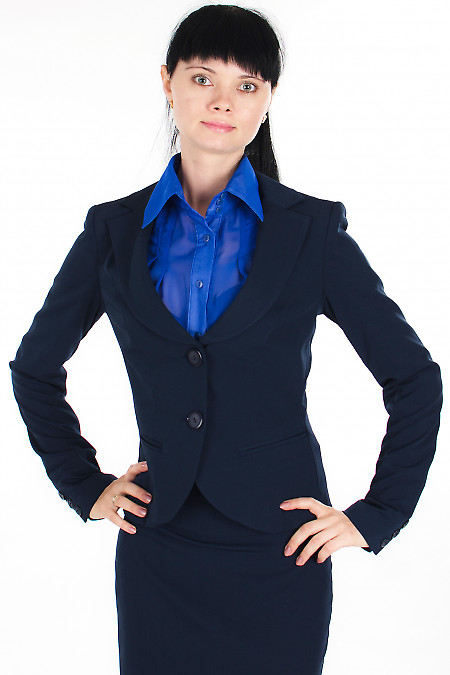 Жакет классический синий Деловая женская одежда