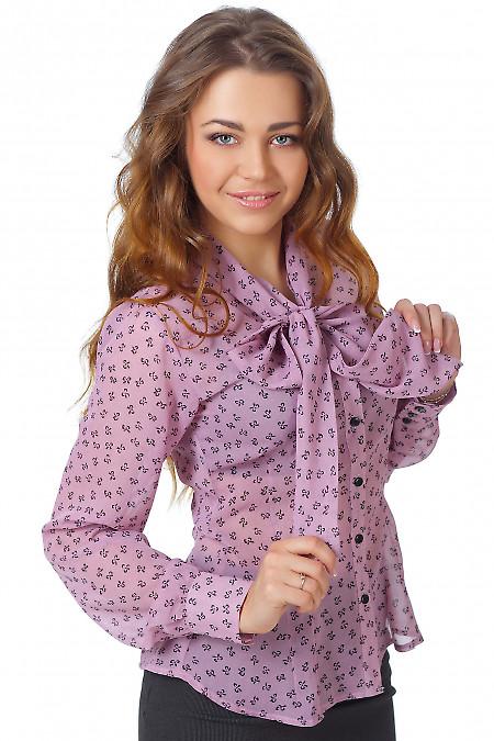 Фото Блузка из розового шифона в бантики Деловая женская одежда