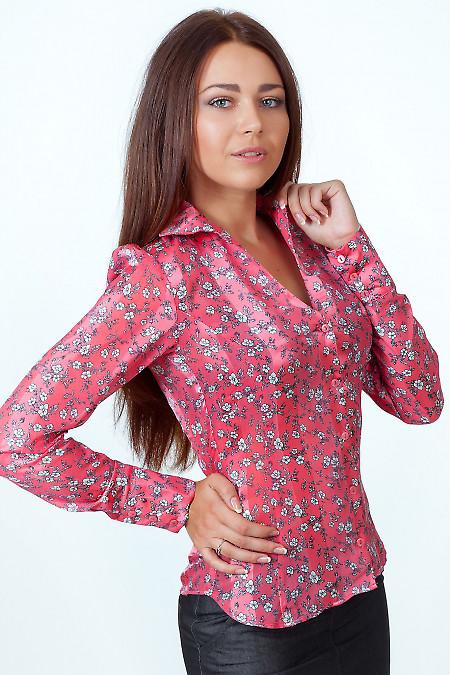 Фото Блузка коралловая в мелкий цветочек Деловая женская одежда