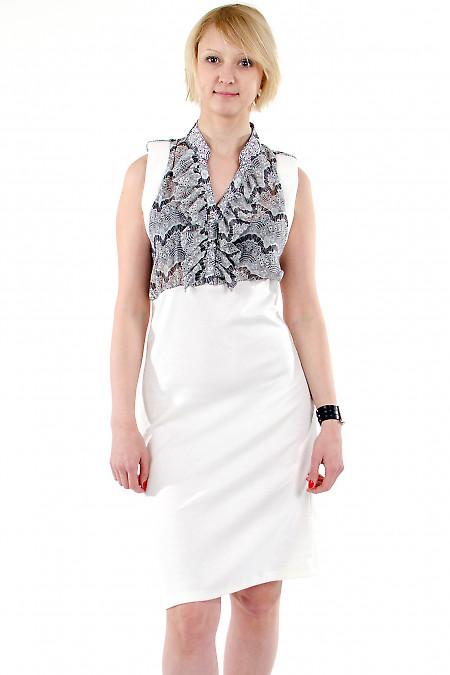 Фото Платье с шифоном молочное. Деловая женская одежда