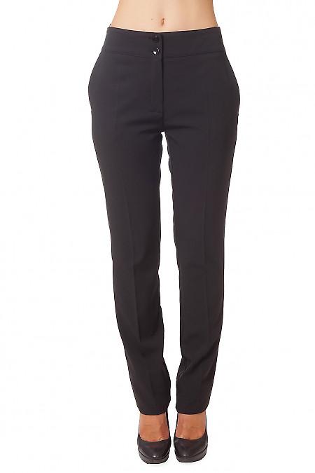 Брюки узкие черные с карманами Деловая женская одежда