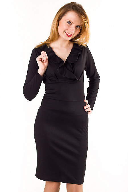 Платье черное с рюшей по горловине Деловая женская одежда
