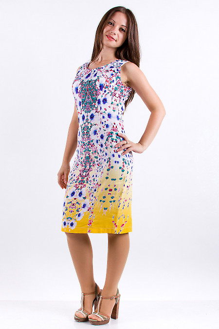 Фото Платье из хлопка с защипами по горловине Деловая женская одежда