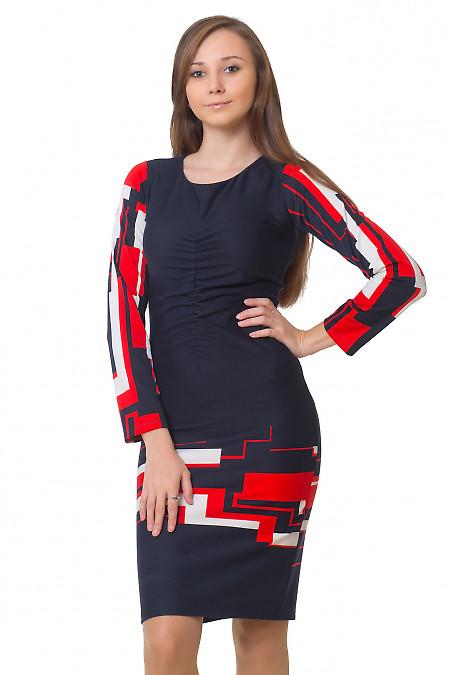 Платье красная геометрия Деловая женская одежда