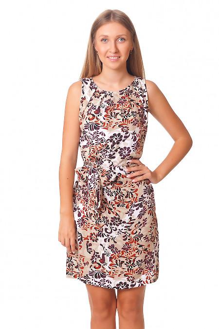 Платье с защипами в бордовые цветы Деловая женская одежда