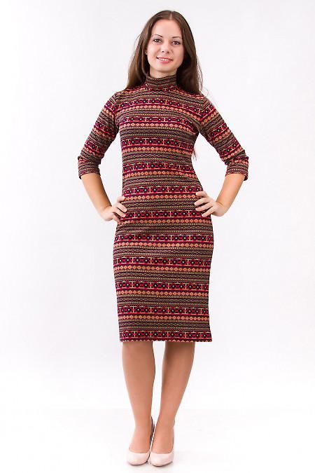 Фото Платье трикотажное с орнаментом Деловая женская одежда