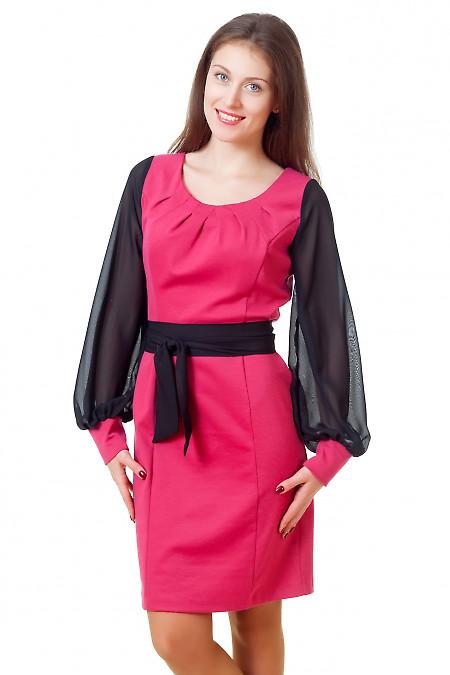 Платье малиновое с защипами Деловая женская одежда