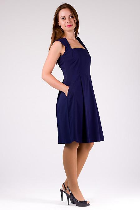 Фото Платье синее с карманами Деловая женская одежда