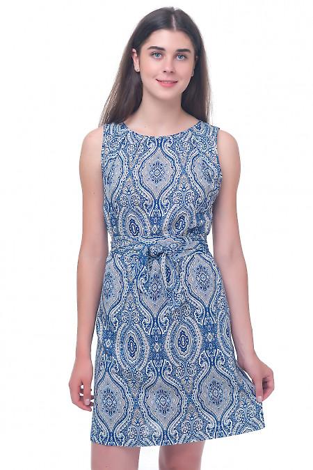 Платье в сине-бежевый орнамент Деловая женская одежда