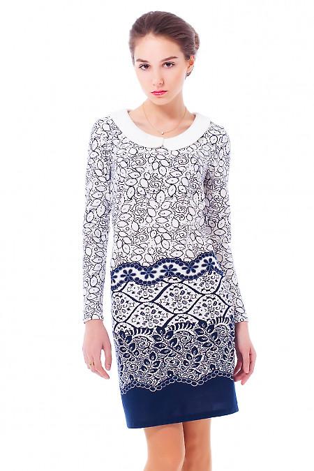 Купить трикотажное платье с белым воротником Деловая женская одежда