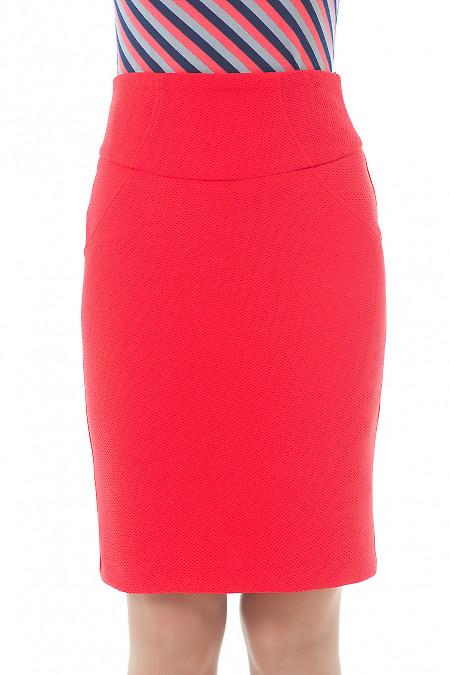 Купить юбку коралловую трикотажную Деловая женская одежда