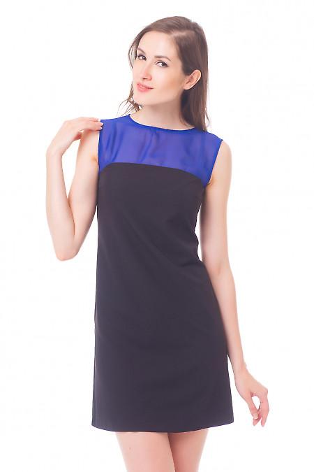 Черное платье с шифоновым верхом Деловая женская одежда