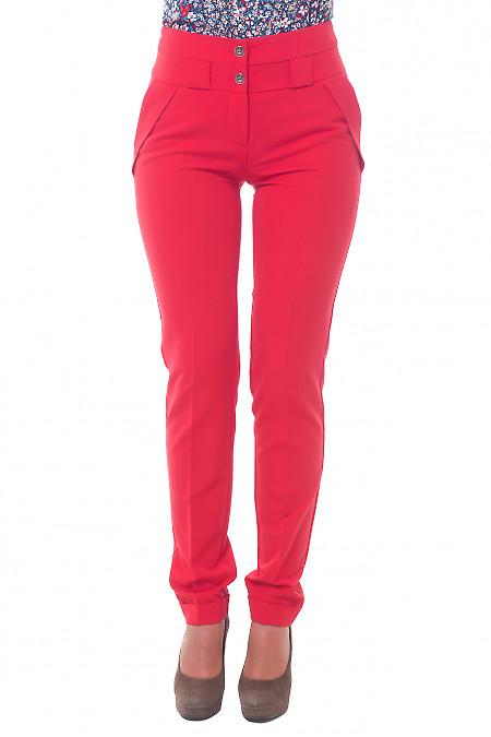 Брюки красные с двойным поясом Деловая женская одежда