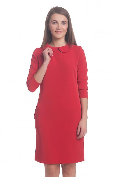 Платье красное с отложным воротником Деловая женская одежда