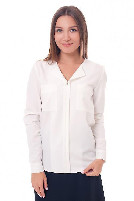 Блузка молочная с накладными карманами Деловая женская одежда фото