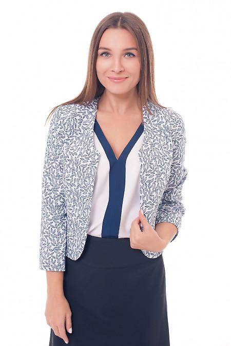 Болеро белое в серый листок Деловая женская одежда фото