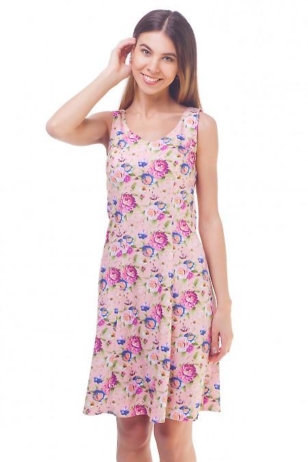 Розовый летний сарафан в розы Деловая женская одежда