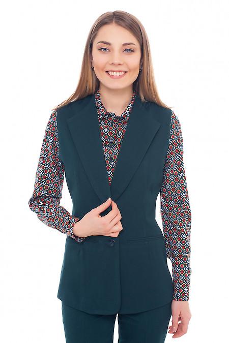 Жилет женский теплый зеленый Деловая женская одежда фото