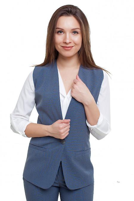 Жилетка без воротника в синюю клеточку Деловая женская одежда фото