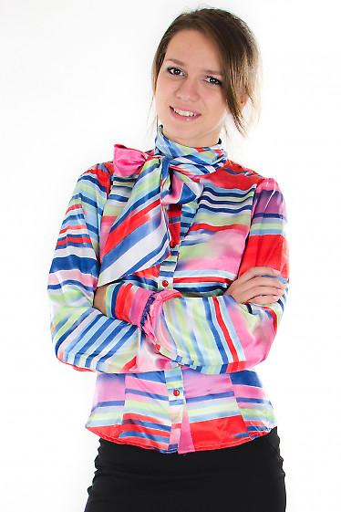 Блузка атласная разноцветная  Деловая женская одежда