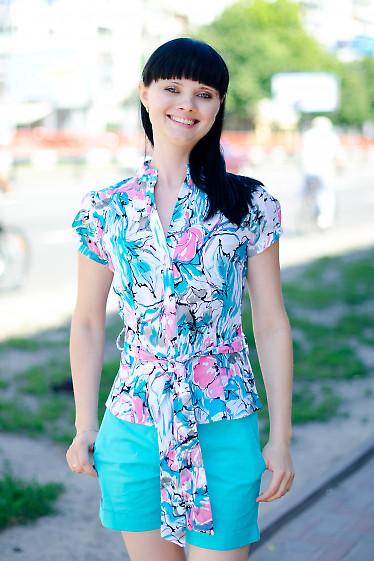 Блузка цветная с поясом Деловая женская одежда