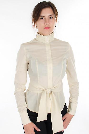 Блузка молочная с поясом Деловая женская одежда