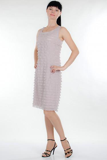 Платье розовое в рюши Деловая женская одежда