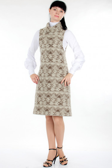 Платье шерстяное бежевое Деловая женская одежда