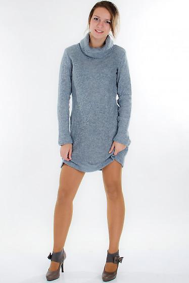 Платье вязаное серое Деловая женская одежда