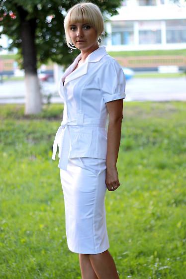 Юбка-карандаш с карманами белая Деловая женская одежда