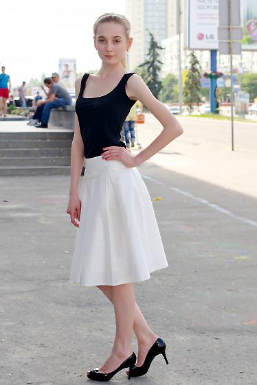 Юбка со складками белая Деловая женская одежда