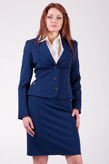 Жакет классический синий Жакет приталенного покроя.