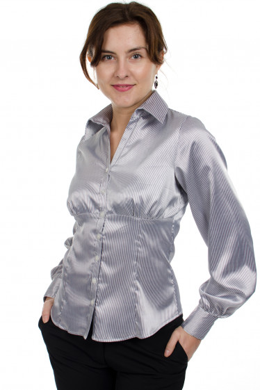 Блузка атласная в полоску Деловая женская одежда