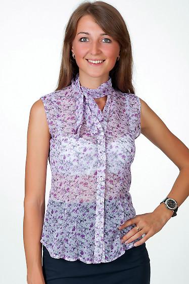 Фото Блузка без рукавов в сиреневый цветочек Деловая женская одежда