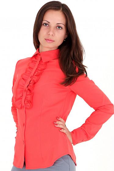 Фото Блузка рыжая с рюшами Деловая женская одежда