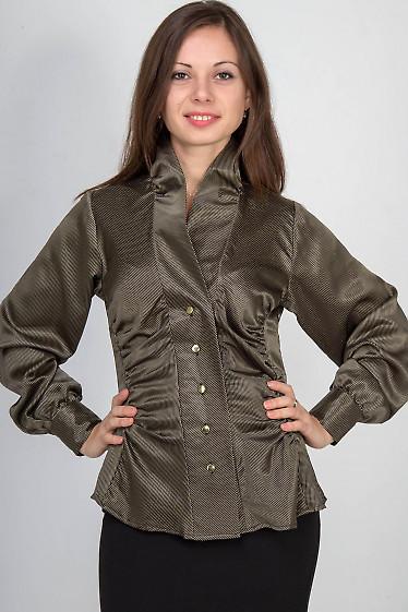 Фото Блузка в полоску золотистую Деловая женская одежда