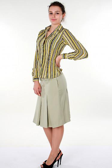 Фото Блузка в зеленую полоску Деловая женская одежда
