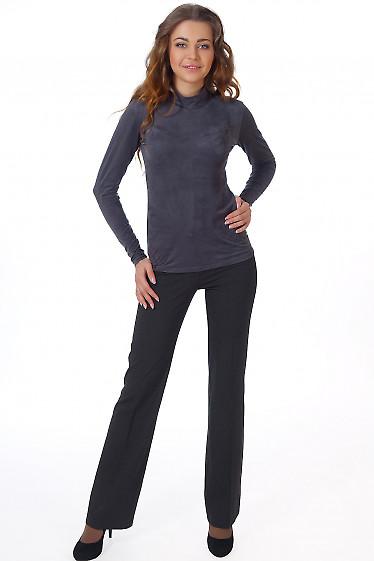 Фото Брюки черные в мелкую полоску Деловая женская одежда