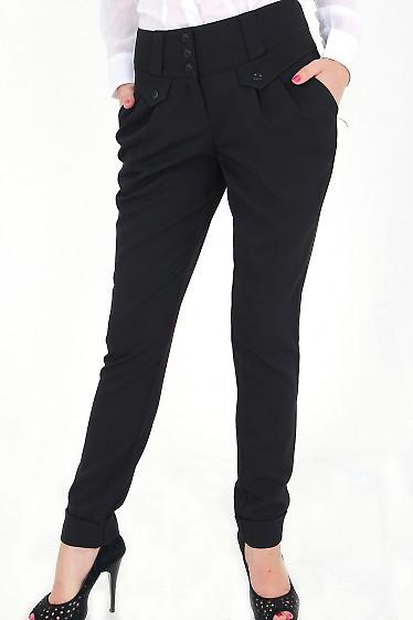 Фото Брюки с защипами черные Деловая женская одежда
