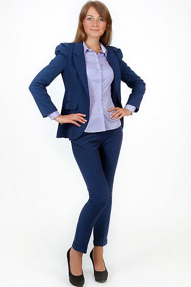 Фото Брюки синие с манжетой Деловая женская одежда