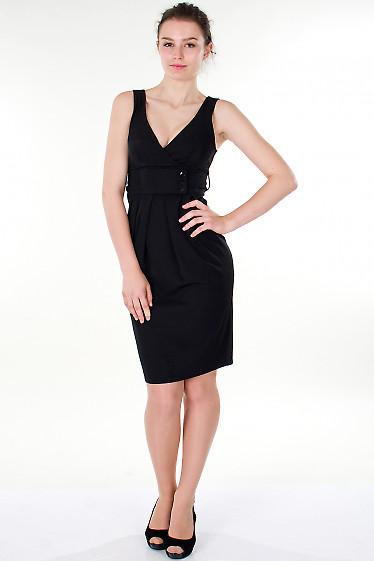 Фото Платье черное с поясом Деловая женская одежда