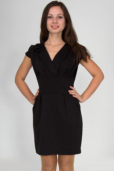 Фото Платье черное со складочками на воротнике Деловая женская одежда