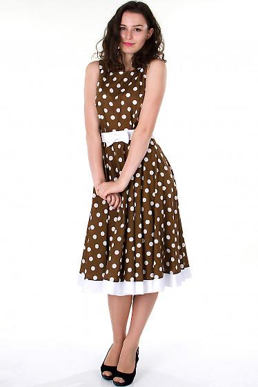 Фото Платье коричневое в горох Деловая женская одежда