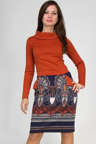 Фото Платье с карманами рыжее Деловая женская одежда