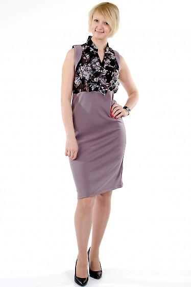 Фото Платье с шифоном фиолетовое. Деловая женская одежда