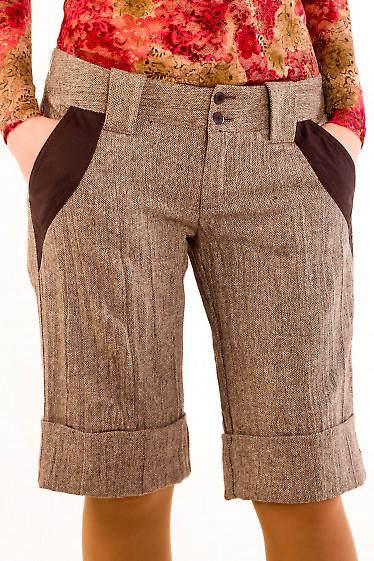 Фото Шорты коричневые из  твида Деловая женская одежда