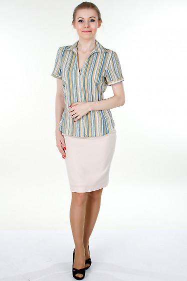 Фото Юбка кремовая с молниями Деловая женская одежда