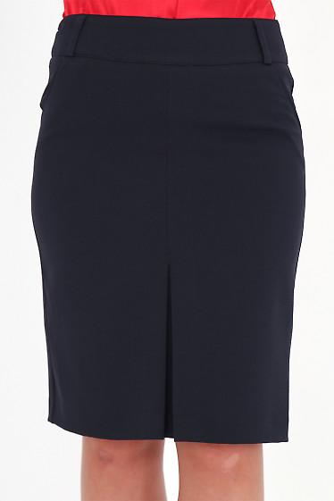 Фото Юбка с бантовой складкой темно-синяя Деловая женская одежда
