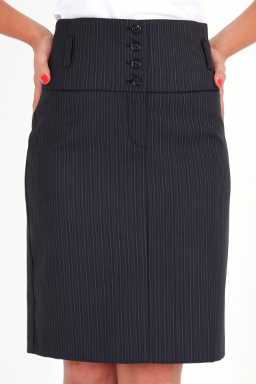 Фото Юбка с высокой талией в полоску Деловая женская одежда